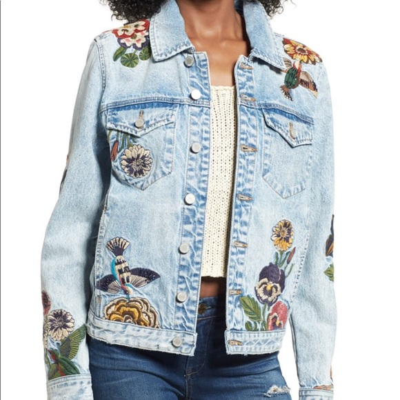 Blank NYC Jackets & Blazers - BlankNYC | Embroidered Jean Jacket Beaded Birds